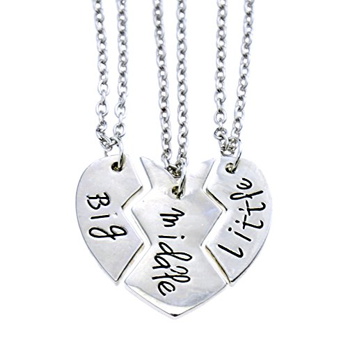 O Riya Sis Middle Little Jewelry Necklace Set 3 Pieces Best Friend Necklaces S Bff Kids Grey