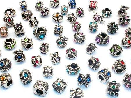 40pcs Large Hole Rhinestone Beads Jewelry Making Charms Assorted Styles Randomly Red