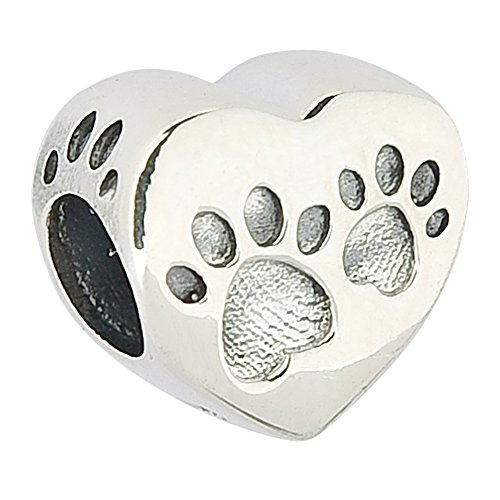 Sterling Silver Journey Dog Paw Prints Slider Pendant with Footprints