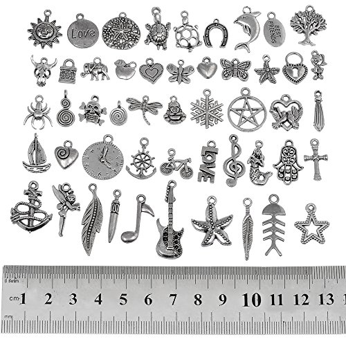 160pcs Gold+Silver Charms 160Pcs Mixed Antique Silver Gold Charms Pendants DIY for Necklace Bracelet Jewelry Making and Crafting