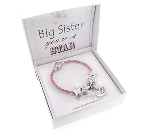 Girls Pink Leather Starter Charm Bracelet with Silver Unicorn and Gift Box