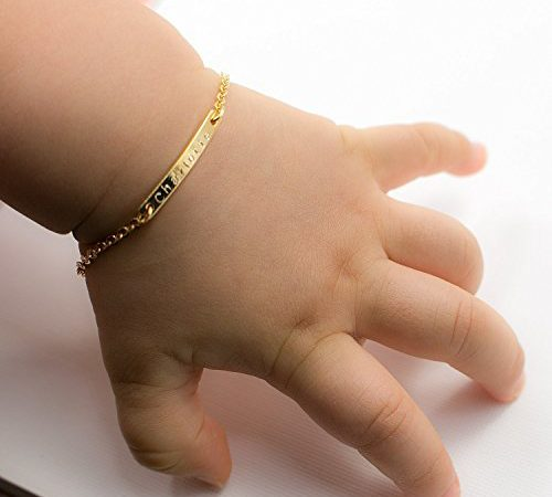 Same Day Shipping Til 2pm Cdt A Baby Name Bar Id Bracelet 16k Gold Plated Dainty Hand Stamp Personalized Your Customized New Born