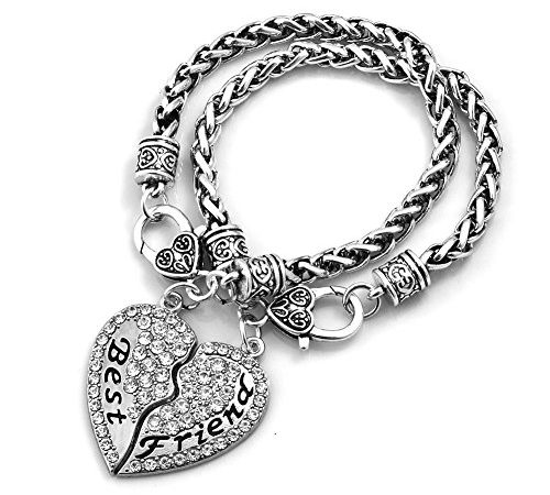 Bling Crystal Pink Zircon Pave Heart Love European Charm Bead Snake Chain Bracelet with Extender Gift for Aunt